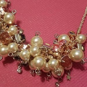 Betsey Johnson Jewelry - Betsey Johnson pearl gem cluster necklace nwt